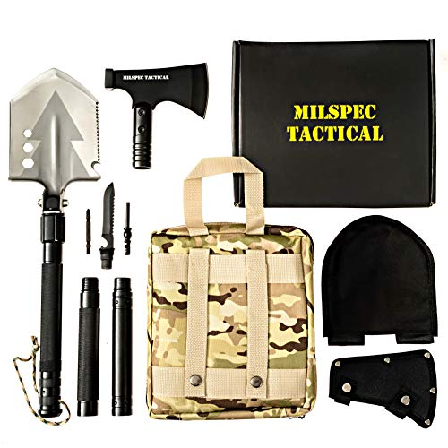 Survival Folding Shovel with Camping Axe Multi-Tool - Folding Shovel Survival Kit with Blade, Saw, Hatchet attachments - Survival Tools for Camping, Hiking, Outdoor, Emergency, Backpacking, Military
