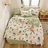 AOJIM Japanese Anime Cute Little Dinosaur Bedding Set 3pcs Printing Cartoon Duvet Cover Super Soft for Children/Adults 100% Cotton Comforter Cover Twin Size
