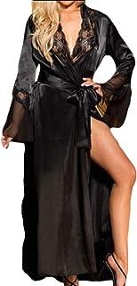 Women's Lace Trim Kimono Robe Nightwear Sleepwear Satin Long Robe