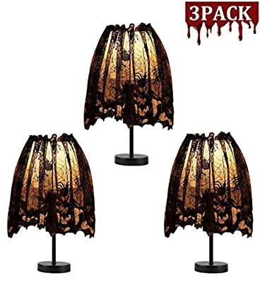 3 Pack Halloween Lamp Shade Cover Decoration, Black Lace Ribbon Spider Web Lampshades Cover Topper Scarf for Festive Party Indoor Decor Supplies, 20 X 60 inch Spiderweb Lamp Shade Cover