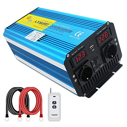 Cantonape Inversor de Corriente Onda Sinusoidal Pura 3000W 6000W Convertidor 12V a 220V 230V con Control Remoto Salidas de AC Dobles & Pantalla 2 LED para el Uso en el hogar del Carro de RV