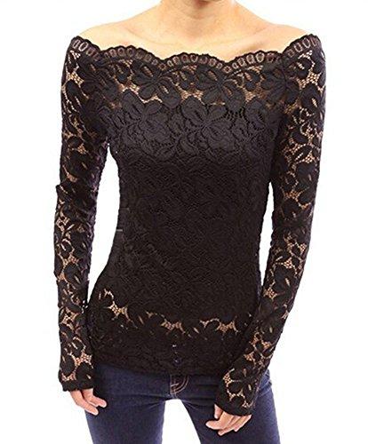 Minetom Femme Sexy T-Shirt Floral en Dentelle Manches Longues Elégant Tops Blouses Shirt Off Épaules Chemisiers Slim Haut Noir FR 42