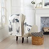 Decorative Holiday Throw Blanket. Super Soft Fleece Sherpa Holiday Throw Blanket. Hudson Collection (50' x 60', Woodland Creatures)