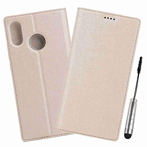 Ycloud Geschäft PU Leder Tasche für Xiaomi Mi Mix 2S Wallet Flipcase mit Standfunktion Kartenfächer Entwurf Gold Leinen Stil Hülle