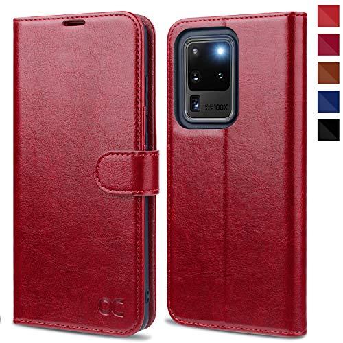 OCASE Samsung Galaxy S20 Ultra Hülle Handyhülle [Premium PU Leder] [Standfunktion] [Kartenfach] [Magnetverschluss] Tasche Cover Etui Schutzhülle lederhülle für Samsung Galaxy S20 Ultra Rot