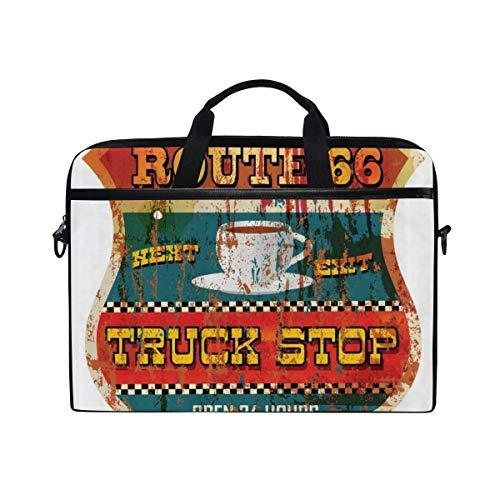 LOSNINA Laptop Tasche 15-15.4 Zoll,Route 66 Historic Trip Truck Stoppschild Mit Einer Tasse Kaffee Auf Grunge Stempel USA Grafik,Drucken Muster Aktentasche Schulter Messenger Handtasche Case Sleeve