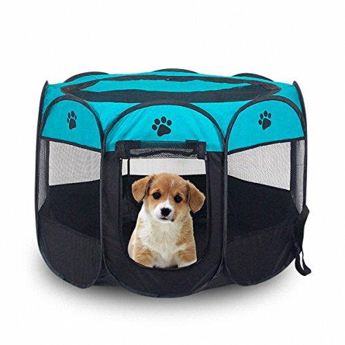 MiLuck Animal de compañía portátiles plegables Playpen, ejercicio de 8 paneles de la perrera de malla cubierta de la sombra interior / al aire libre tienda de cercas para perros gatos (L-Azul)