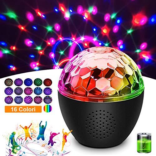 Discokugel LED Party Licht MEKUULA Bluetooth-Audio Einstellbare Lichthelligkeit und Drehgeschwindigkeit mit 16 Beleuchtungs form für Halloween...