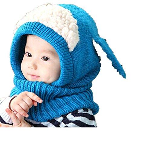 OverDosebébé Écharpe Chapeaux Enfants Hiver Filles Garçons Réchauffez laine Coif Capuche Caps (Bleu)