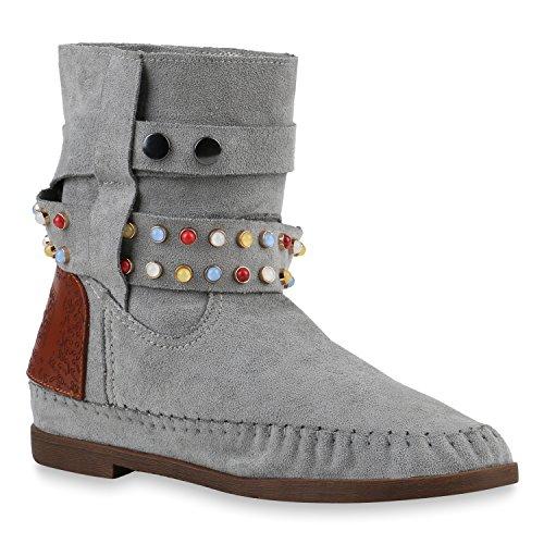 Damen Schuhe Ethno Boots Stiefeletten Mokassin Stiefel Schlupfstiefel 144035 Hellgrau Ethno 37 Flandell