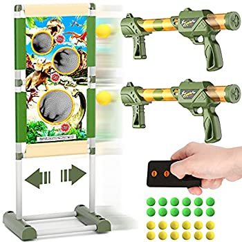 Shooting Game Toy for 5 6 7 8 9 10+ Years Old Boys,Remote Control Shooting Target Toys with 2pk Foam Ball Popper Air Guns & 24 Foam Balls - Ideal Gift - Compatible with Nerf Toy Guns