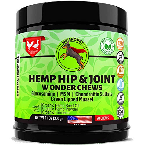 Hemp Hip & Joint Supplement for Dogs Chondroitin Glucosamine MSM Turmeric | Extra Strength Formula for Arthritis Pain Relief & Mobility | 120 Soft Chews