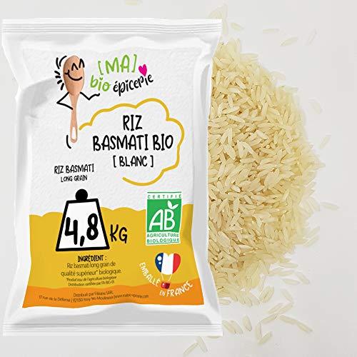 [Ma] bio-épicerie | Riz basmati blanc BIO | 4,8 Kg | Sachet vrac | Certifié biologique | Grains longs et fins