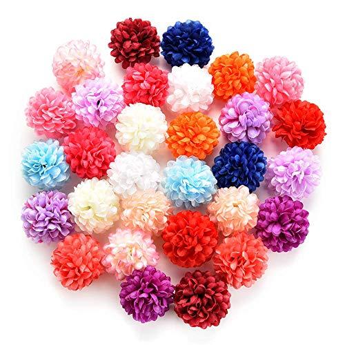 silk flowers in bulk wholesale Fake Flowers Heads Artificial Carnation Flower Head Handmade Home Decoration DIY Event Party Supplies Wreaths 30pcs/lot 4cm (Multicolor)