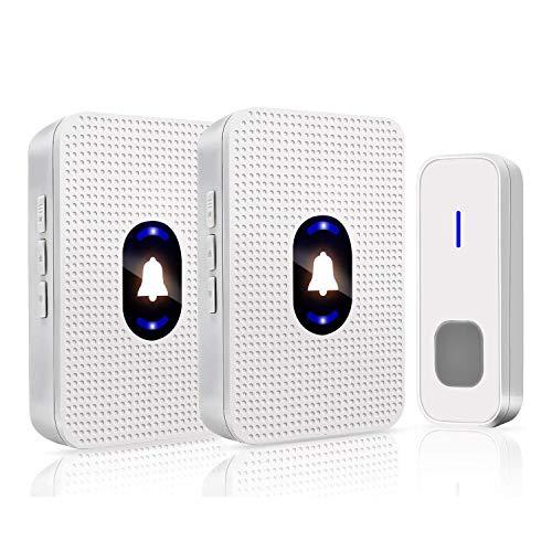 ワイヤレスチャイム 呼び出しチャイムセット 介護 玄関チャイム 防水 防塵 最高300m無線範囲 電池式 ドアベル 55曲選択 5段階音量調節 音量0〜110dB調整 飲食店 別荘などに適用 送信機1個 受信機2個