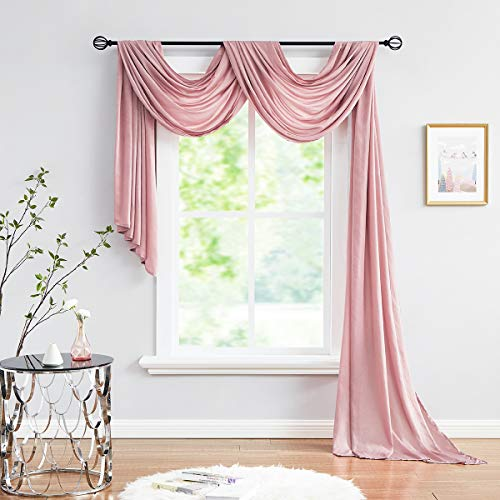 """Valance Scarf Curtain for Living Room Dusty Pink Extra Long Wrinkle-Free Sheer Backdrop Curtain 18ft Soft Window Top Valance Drapes for Wedding Party Stage Decoration 52"""" x 216"""" 1 Panel 6 yards"""