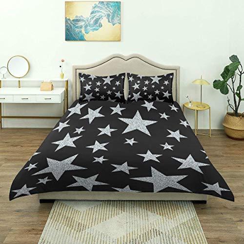 SmallNizi Funda nórdica, Estrellas Plateadas en Negro, Juego de Cama de Lujo, Microfibra Ligera y cómoda