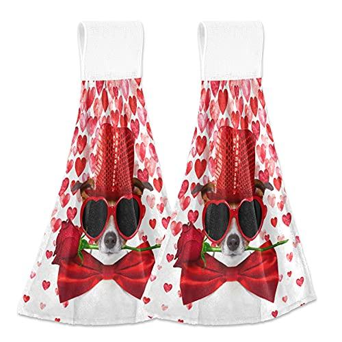 Oarencol Toalla de mano de cocina de San Valentín Jack Russell Terrier perro rojo rosa boca corazones absorbentes para colgar toallas con lazo para baño 2 piezas
