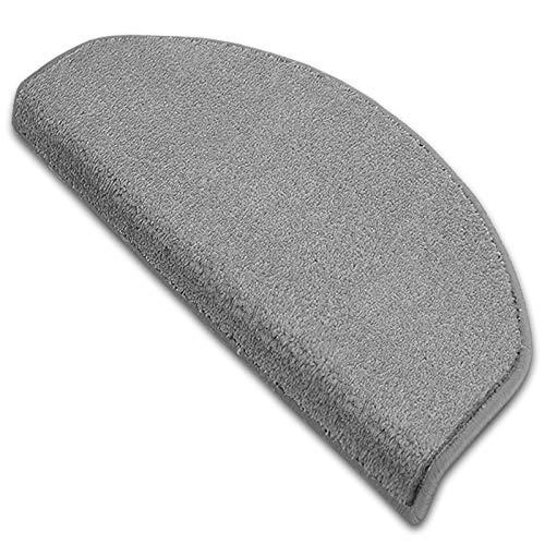 Stufenmatte Dynasty Velours | Halbrund oder eckig | In 7 Farben (Stufenmatte halbrund 15 Stück, Silbergrau)