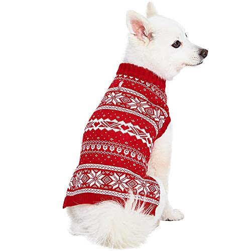 Blueberry Pet Christmas Fair Isle Mockneck Dog Sweater, Back Length 12', Pack of 1 Clothes for Dogs