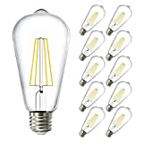 Sunco Lighting 10 Pack ST64 LED Bulb, Dimmable, 8.5W=60W, 5000K Daylight, Vintage Edison Filament Bulb, 800 LM, E26 Base, Restaurant or String Lights - UL, Energy Star