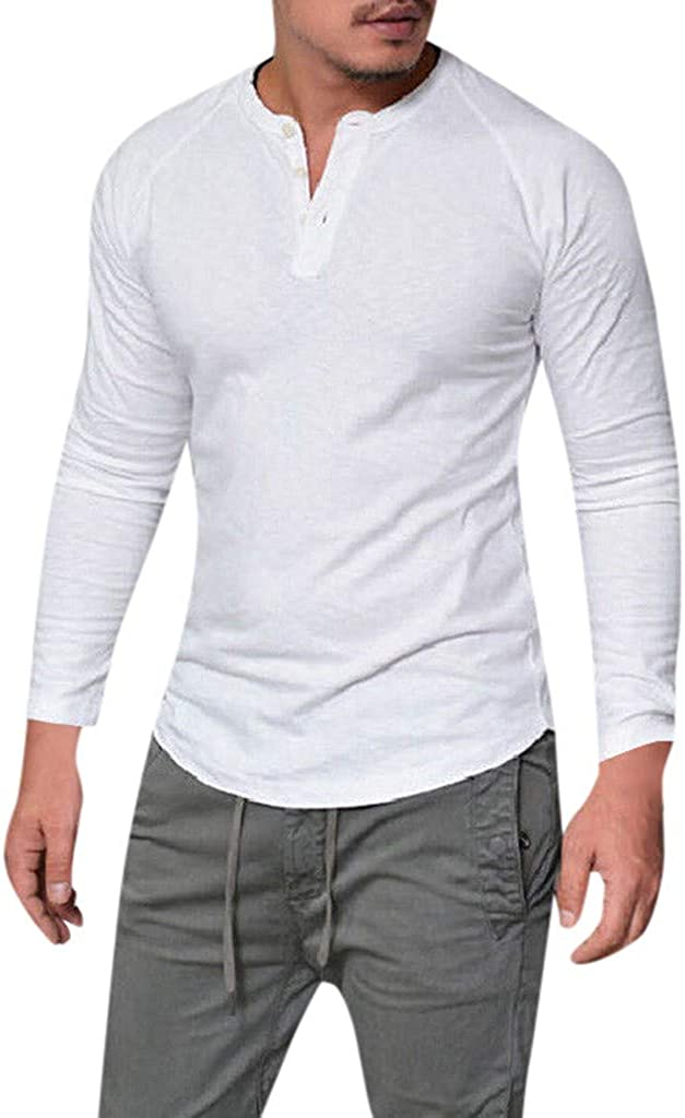 Gergeos Men's Long-Sleeve Shirts Slim Casual Muscle Solid Male O-Neck Tops Button T-Shirts Pullover S-4XL