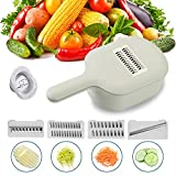 WOONEY Mandoline Slicer, Vegetables Chopper Cheese Graters with Drain Basket and 4 Stainless Steel Interchangeable Blades for Cabbage, Carrot, Potato, Fruits, Cheese
