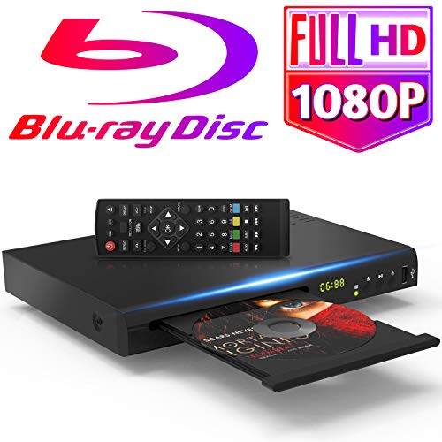 1080P Blu Ray DVD Player for TV with 5ft HDMI AV Cables DTS Sound Effect, Upscaling TV CD DVD Player, Built-in PAL NTSC Coaxial 2.0 USB, Blu Ray Region A/1, Non-Blu Ray Discs in Region Free, EVP-101