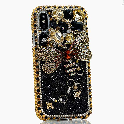 iPhone XR Case, Bling Genuine Gold Crystals Diamond Stones with Super Bumblebee Sparkle Glitter Easy Grip Protective Case Cover [by Luxaddiction]