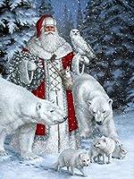 ダイヤモンドの絵画 Diyダイヤモンド絵画「クリスマスサンタクロース」フルドリルスクエアラウンドダイヤモンド刺繡5Dクロスステッチデコレーションホーム