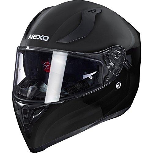 Nexo Integralhelm Motorradhelm Helm Motorrad Mopedhelm Sport II, herausnehmbare Polster, mehrfache Be-, Entlüftung, Windabweiser, klares Visier, Ratschenverschluss, Gewicht: 1.350 g, Schwarz, XS