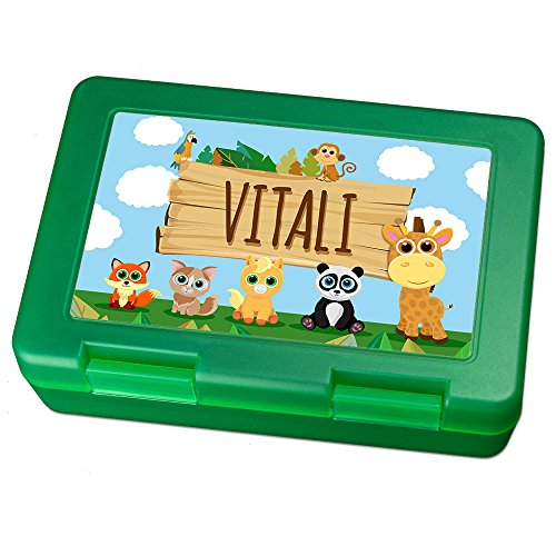 Brotdose mit Namen Vitali - Motiv Zoo, Lunchbox mit Namen, Brotdose Light Green - Frühstücksdose Kunststoff lebensmittelecht