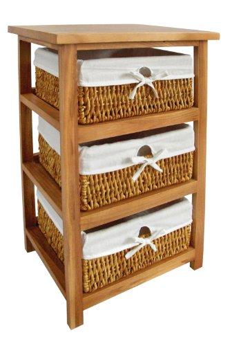 Premier Housewares commode met 3 gevlochten manden 63x40x32 cm hout bruin, paulownia hout, maïs, 32x40x63