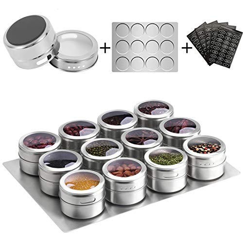 Aiyola Magnetische Gewürzdosen 12 Stück mit Wandboden, Edelstahl Magnetischer Gewürzbehälter Staubdicht Magnetische Gewürzdosen Leicht zu reinigen und Rostfrei Inklusive 120 Beschriftungsaufkleber