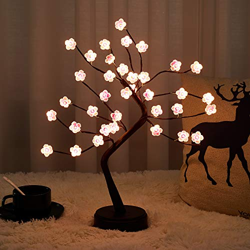 20' Firefly Bonsai Tree Light - DIY Artificial Fairy Light Spirit Tree Lamp with 36 LED Cherry Blossom - Battery/USB Operated, for Home, Living Room, Bedroom, Party, Mother's Day