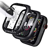 [2 Pack] Case Compatible for Apple Watch 44mm Series 6/5/4/SE Tempered Glass Screen Protector, SUPFIVES Thin Hard PC Bumper Full Coverage Shatterproof HD Ultra Clear Bubble Free Film for iWatch- Black