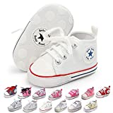 KKIIDDSS Unsex Infant Baby Boys Girls Canvas Shoes Toddler High Top Lace up Crib Soft Sole Sneakers Slip On Anti Skid Newborn First Walkers Skate Shoes (C04-White, 6-12 Months)