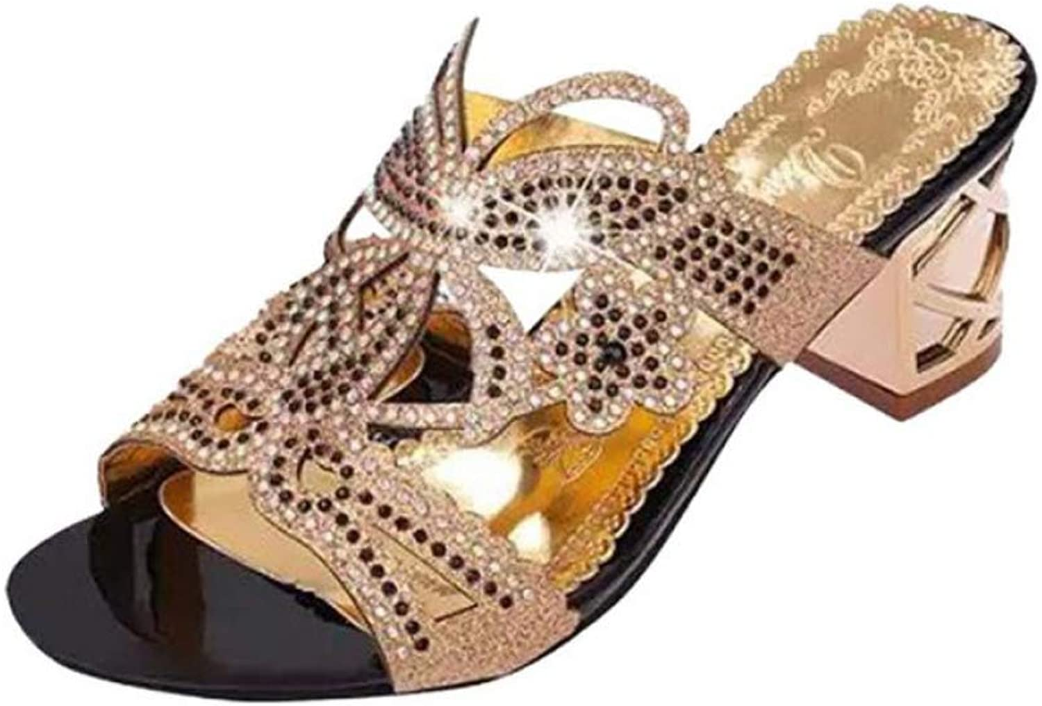 T-JULY Women's Sandal Summer Fashion Comfortable Girl Rhinestone Mid Heel Ladies Sparkling Slipper