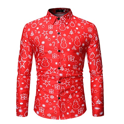 LHWY Camisa de Hombre Casual Christmas Animal Printed Christmas Shirt Blusa Superior T Shirt tee (Rojo XXL)