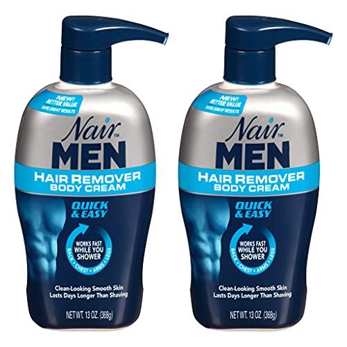 Nair Hair Remover for Men Hair Remover Body Cream, 13 oz (2-Pack)