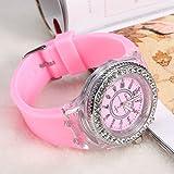 VGEBY14Colores Reloj de Cuarzo gráfico Luminoso, Reloj de Pulsera Mujer decoración en pedrería, Impermeable, Idea Regalo de cumpleaños, Rosa