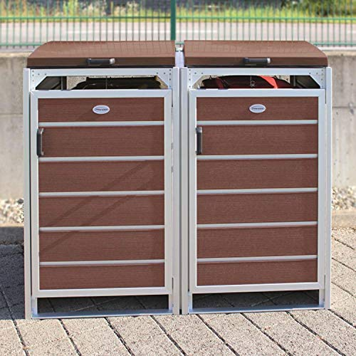 Prewood WPC Mülltonnenbox, Mülltonnenverkleidung für 2x 120l Mülltonne braun // 70x136x113 cm (LxBxH) // Gerätebox, Gartenbox & Mülltonneneinhausung