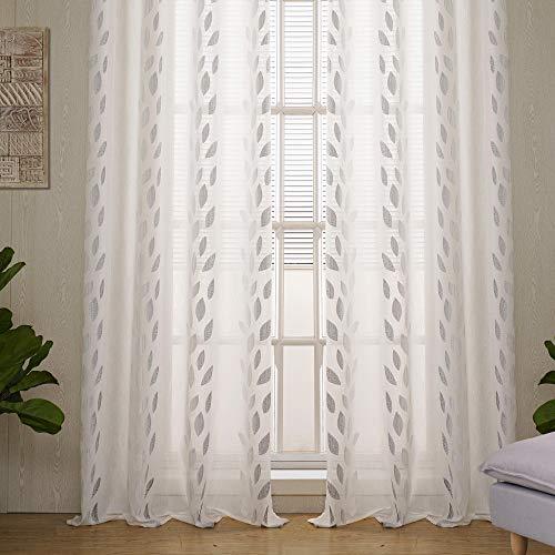 Viste tu hogar Pack 2 Cortina Decorativa con Bordado de Hojas, Estilo Simple y Elegante, para Salón, Habitación y Dormitorio, 2 Piezas, 145X260 CM, Color Gris