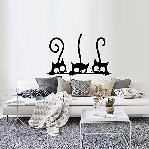 Topgrowth Wall Sticker Tre Gatti Animale Domestico Camera Finestra Adesivo da Parete Decorazione Murale Removibile (Nero)