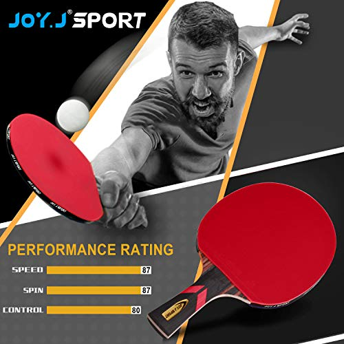 Joy.J Sport Porfessional Table Tennis Bat with case, Pingpong Racket, TT Paddle with ITTF Approved Rubber, Perfect for Intermediate and Advanced (Beginner-Intermediate)
