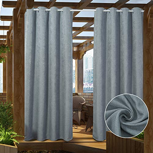PRAVIVE Patio Outdoor Curtain Panels Grommet Waterproof Blackout Canopy Drapes Linen Screened Porch Blinds Privacy Shade Draperies for Deck Decor, Bluish Grey, W52 by L84 Inches,1 Panel