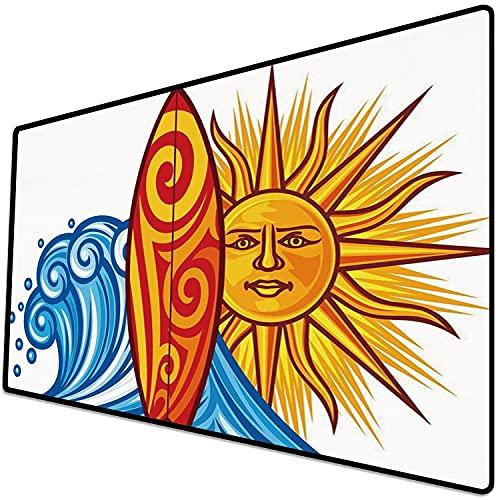 Alfombrilla de ratón (600x300x3 mm) Ride The Wave, Ocean Wave con Sol y Tabla de Surf Lifestyle Summer Freedom Image, Vermilion Yello Superficie Suave y cómoda de la Alfombrilla de ratón para Juegos