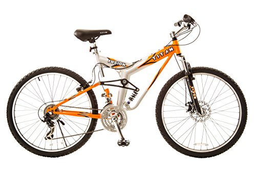 Titan #137 Fusion PRO Alloy Dual Suspension All Terrain 21-Speed 19-Inch Frame Mountain Bike, Orange/Silver, Large
