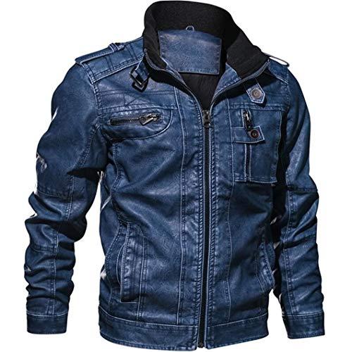 WWWML Hombres Slim Fit Outwear Chaqueta Bomber Winderbreaker PU Chaqueta de Piel de Cuero para Motocicleta Dark Blue 5XL