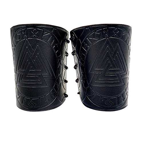 HiiFeuer Viking Odin Valknut Embossed Arm Guards, Medieval PU Leather Arm Bracers for LARP Activities, Halloween Costume Wristbands, One Size One Pair (Black)